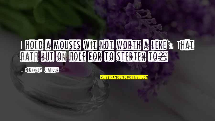 Not Worth Quotes By Geoffrey Chaucer: I hold a mouses wit not worth a