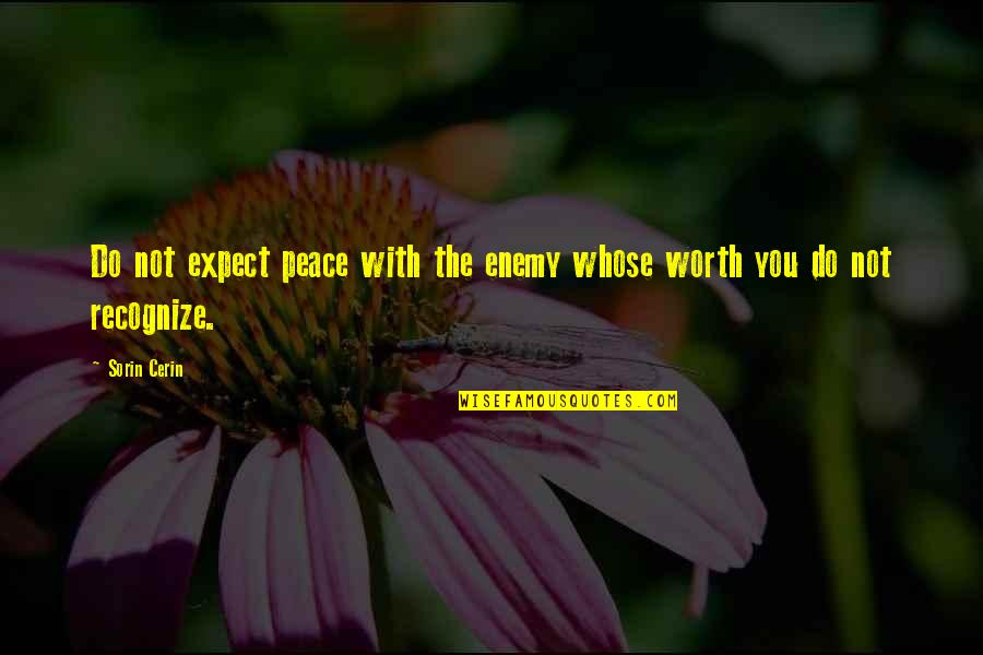 Not Worth Quotes By Sorin Cerin: Do not expect peace with the enemy whose