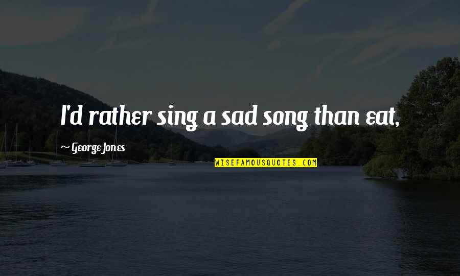 Notepad Smart Quotes By George Jones: I'd rather sing a sad song than eat,