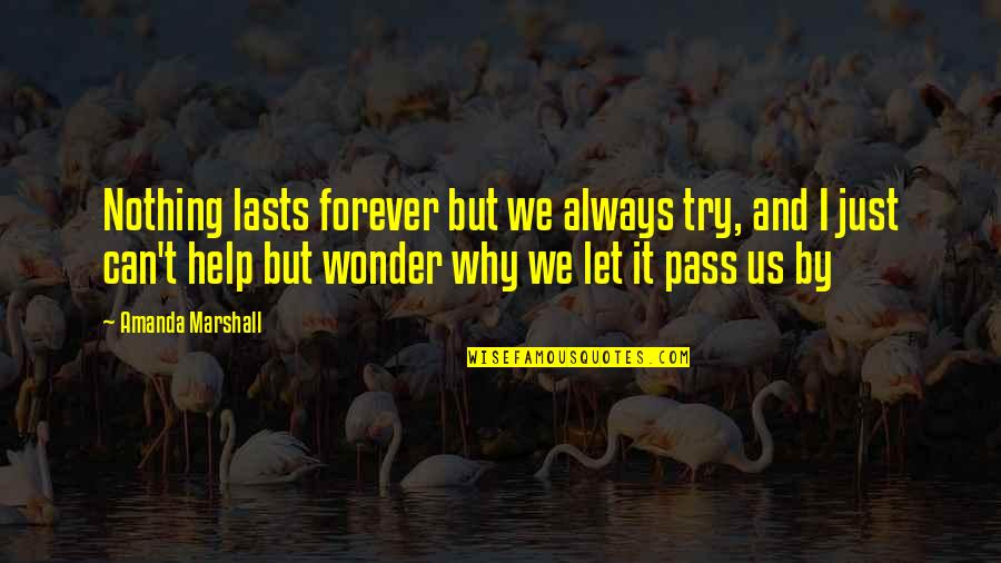Nothing Lasts Quotes By Amanda Marshall: Nothing lasts forever but we always try, and
