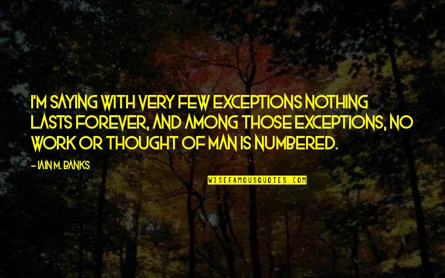Nothing Lasts Quotes By Iain M. Banks: I'm saying with very few exceptions nothing lasts