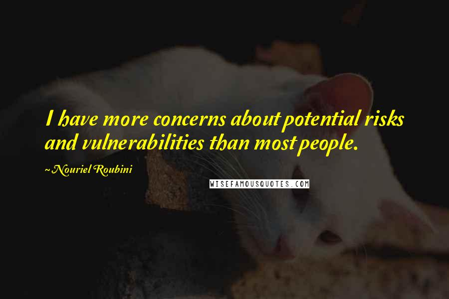 Nouriel Roubini quotes: I have more concerns about potential risks and vulnerabilities than most people.