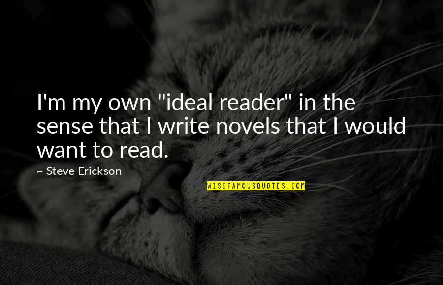 """Novel Reader Quotes By Steve Erickson: I'm my own """"ideal reader"""" in the sense"""