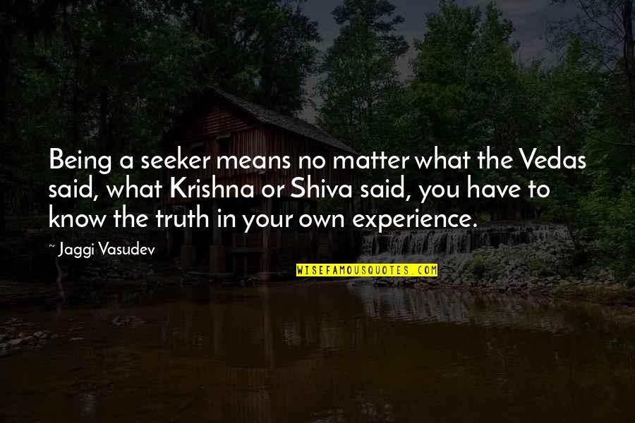 Now I Know The Truth Quotes By Jaggi Vasudev: Being a seeker means no matter what the