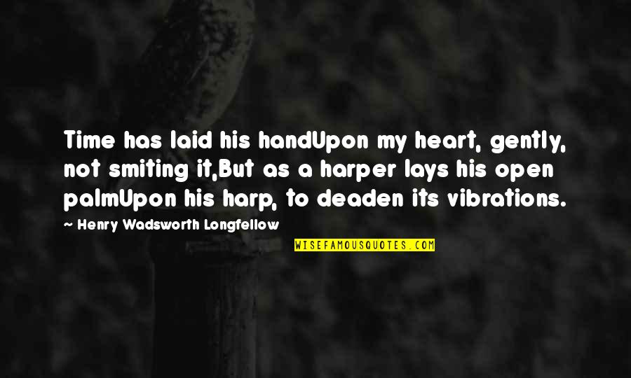 Now Is The Time To Open Your Heart Quotes By Henry Wadsworth Longfellow: Time has laid his handUpon my heart, gently,