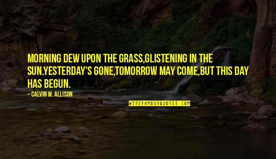 Now That Your Gone Quotes By Calvin W. Allison: Morning dew upon the grass,glistening in the sun.Yesterday's
