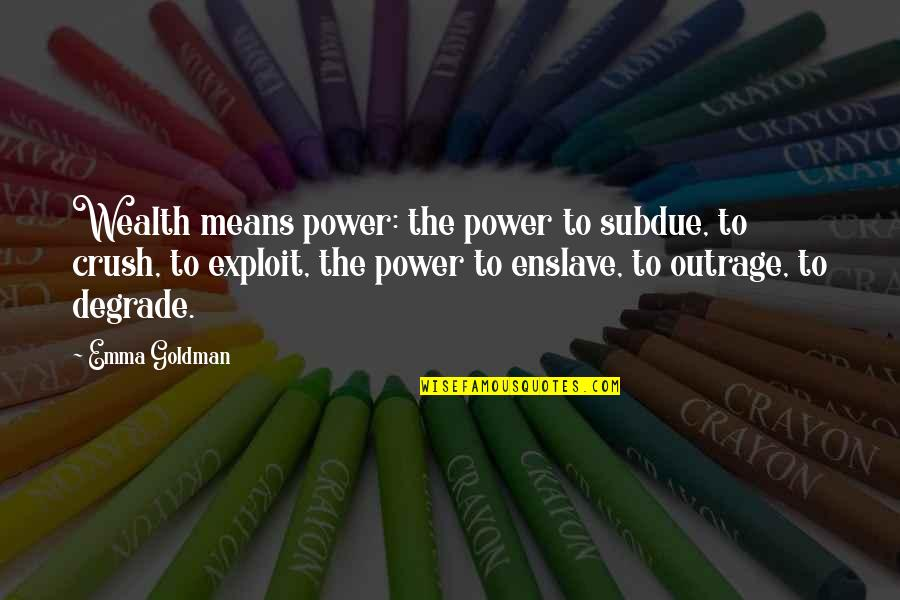 Nrbq Quotes By Emma Goldman: Wealth means power: the power to subdue, to
