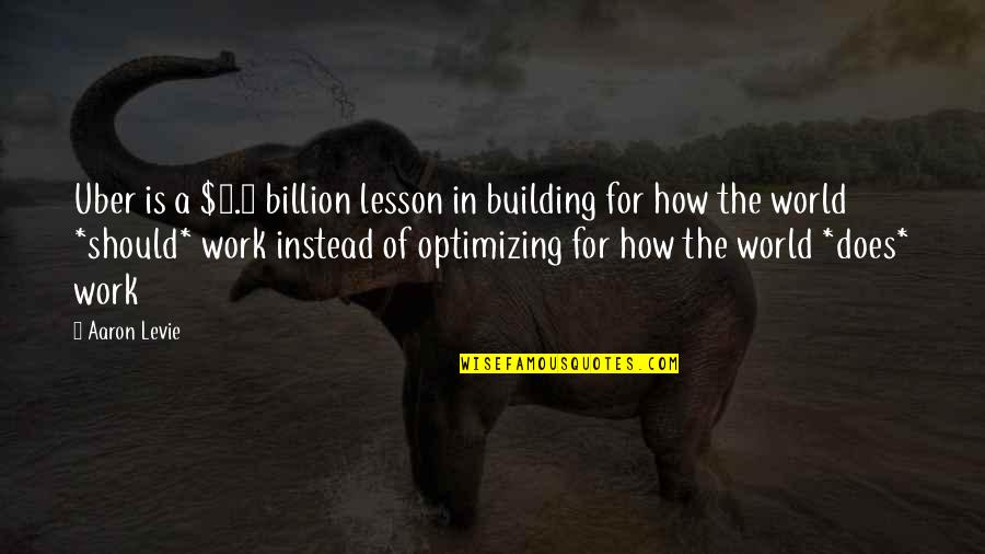 Nsn Song Quotes By Aaron Levie: Uber is a $3.5 billion lesson in building