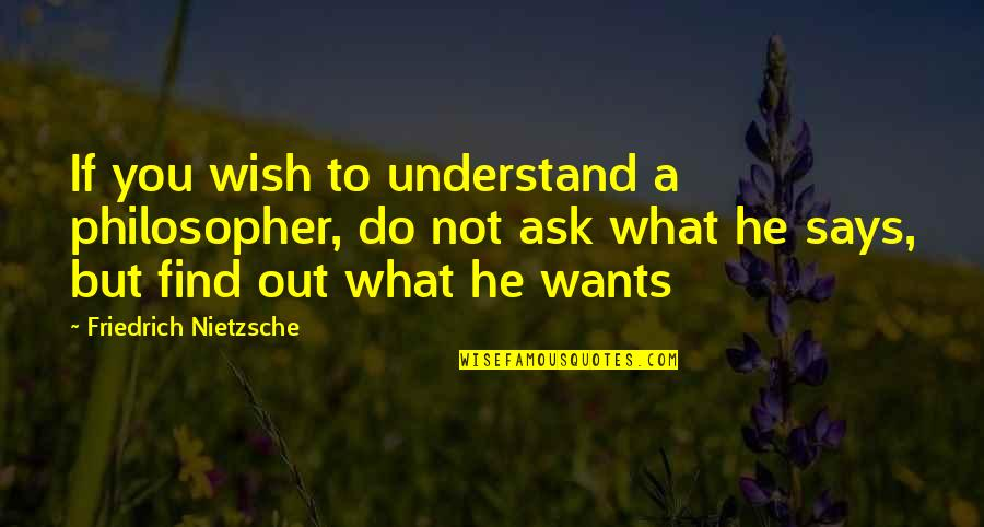 Nstead Quotes By Friedrich Nietzsche: If you wish to understand a philosopher, do