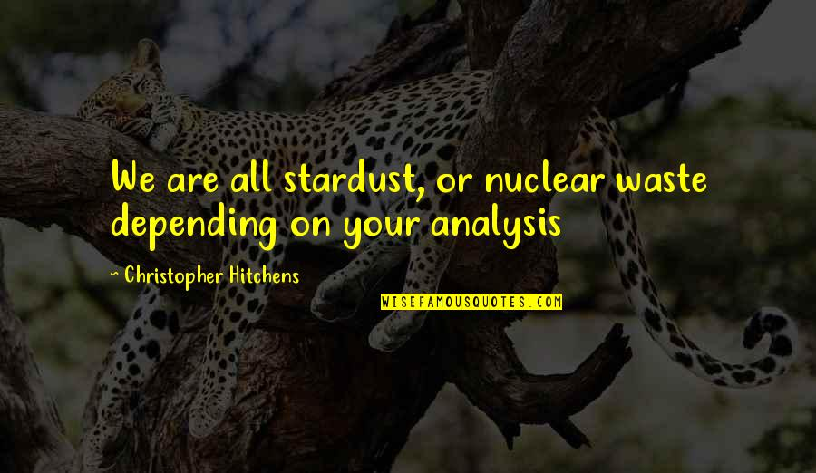 Nuclear Waste Quotes By Christopher Hitchens: We are all stardust, or nuclear waste depending