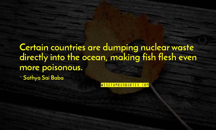 Nuclear Waste Quotes By Sathya Sai Baba: Certain countries are dumping nuclear waste directly into