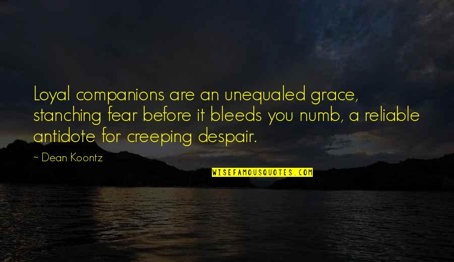 Numb Quotes By Dean Koontz: Loyal companions are an unequaled grace, stanching fear