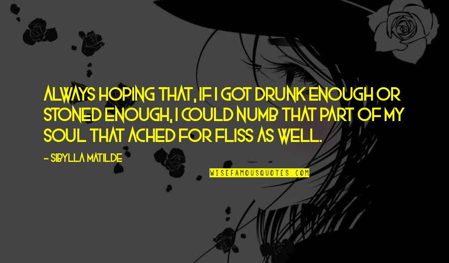 Numb Quotes By Sibylla Matilde: Always hoping that, if I got drunk enough