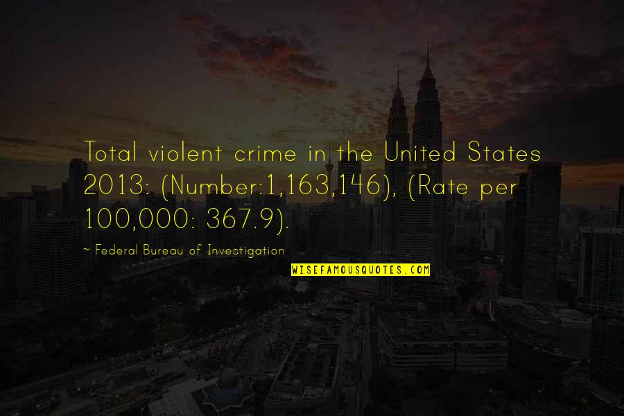 Number 100 Quotes By Federal Bureau Of Investigation: Total violent crime in the United States 2013: