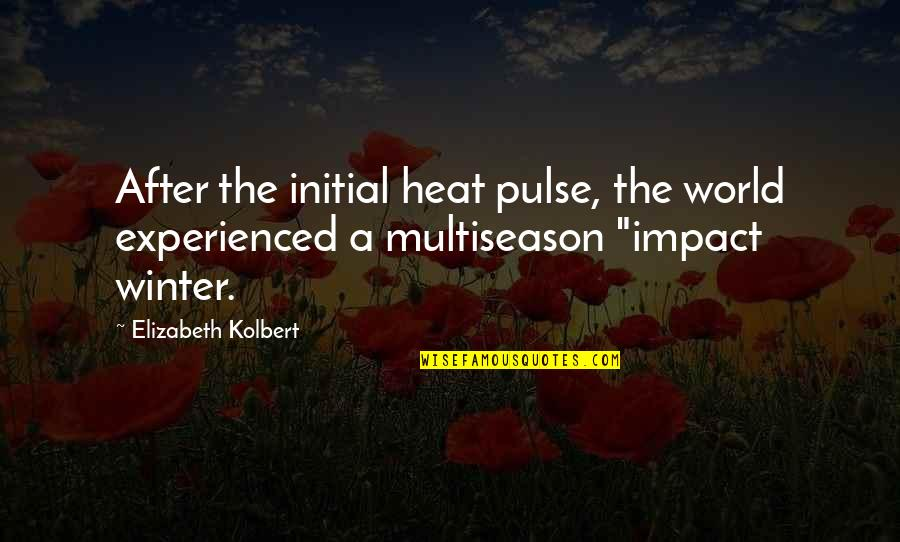 Number Of Friends Quotes By Elizabeth Kolbert: After the initial heat pulse, the world experienced