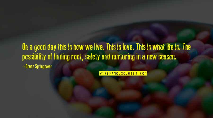 Nurturing Quotes By Bruce Springsteen: On a good day this is how we