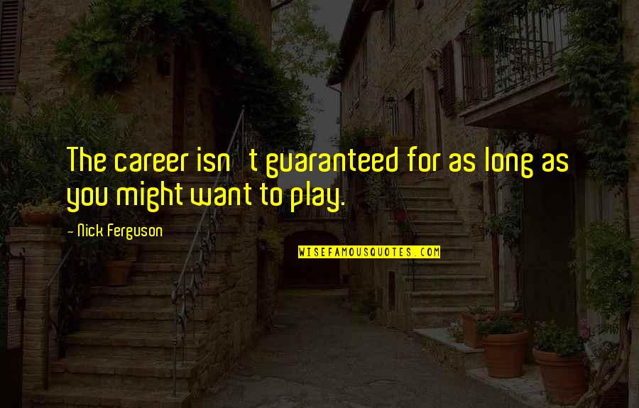 Nutuk Quotes By Nick Ferguson: The career isn't guaranteed for as long as