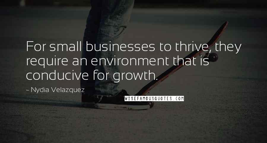 Nydia Velazquez quotes: For small businesses to thrive, they require an environment that is conducive for growth.