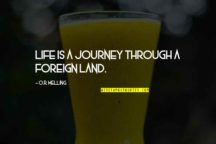 O.a.r. Quotes By O.R. Melling: Life is a journey through a foreign land.