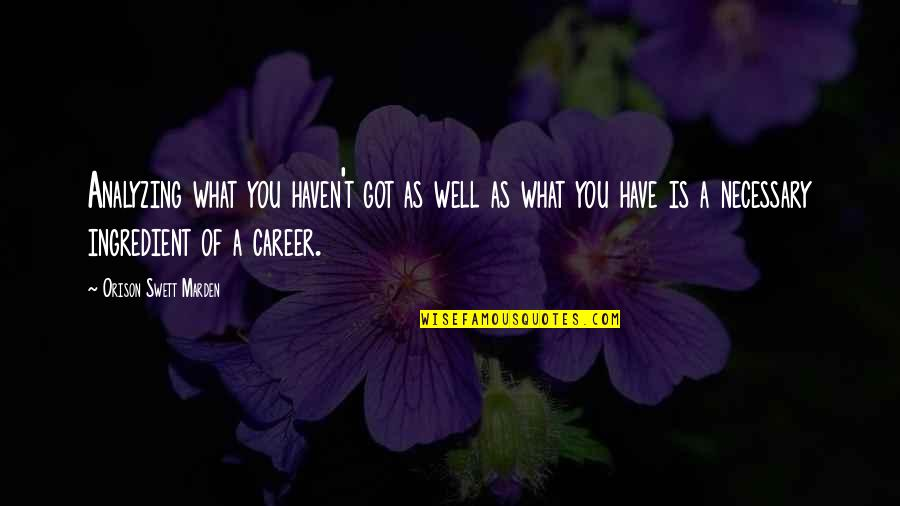 O.s. Marden Quotes By Orison Swett Marden: Analyzing what you haven't got as well as
