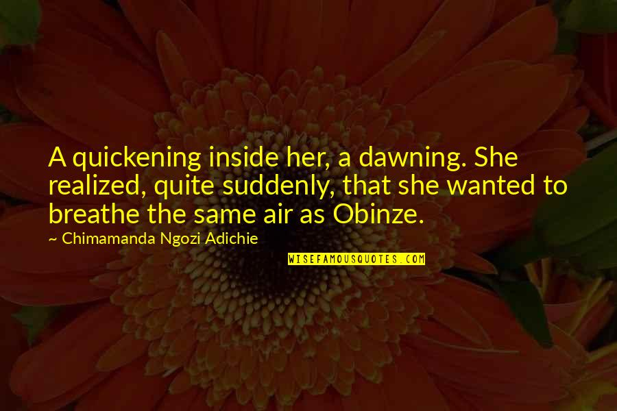 Obinze Quotes By Chimamanda Ngozi Adichie: A quickening inside her, a dawning. She realized,