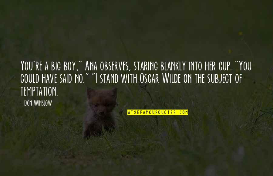 """Observes Quotes By Don Winslow: You're a big boy,"""" Ana observes, staring blankly"""
