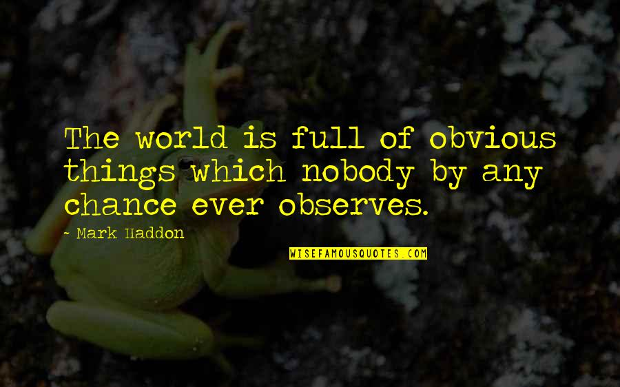 Observes Quotes By Mark Haddon: The world is full of obvious things which