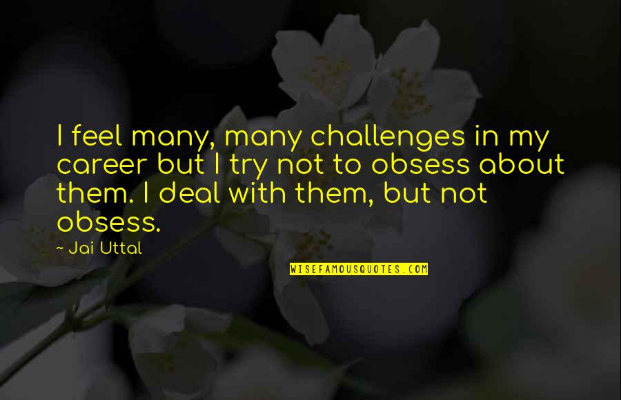 Obsess Quotes By Jai Uttal: I feel many, many challenges in my career