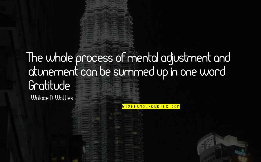 Occupassion Quotes By Wallace D. Wattles: The whole process of mental adjustment and atunement