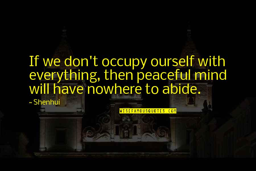 Occupy My Mind Quotes By Shenhui: If we don't occupy ourself with everything, then