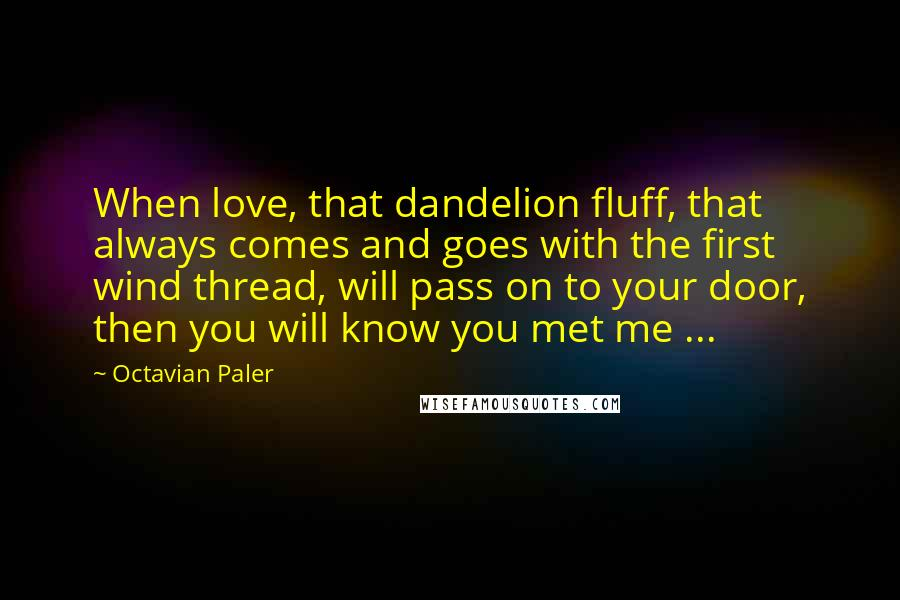 Octavian Paler quotes: When love, that dandelion fluff, that always comes and goes with the first wind thread, will pass on to your door, then you will know you met me ...