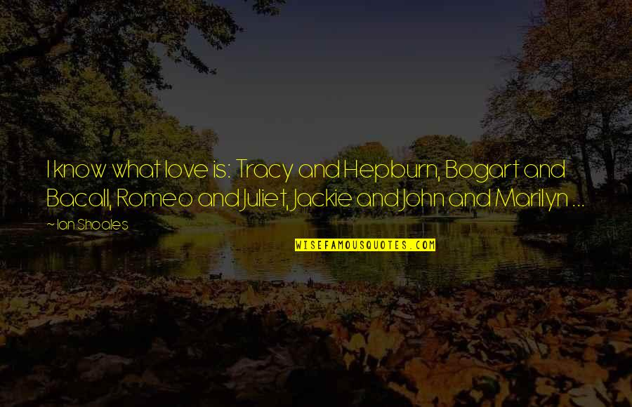 Of Romeo And Juliet Quotes By Ian Shoales: I know what love is: Tracy and Hepburn,