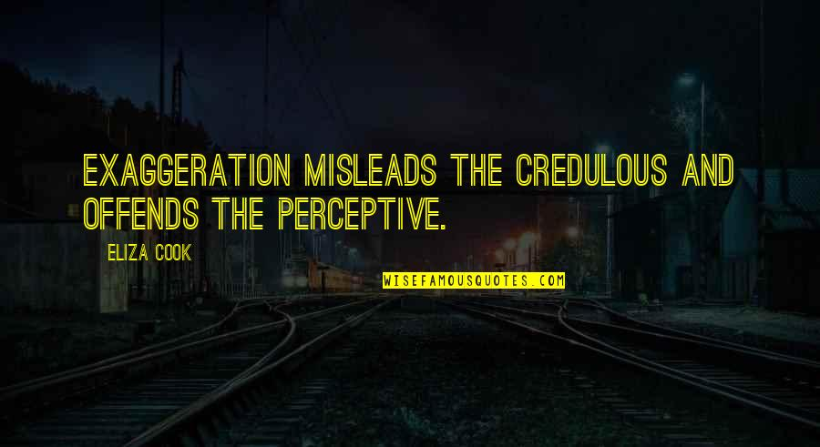 Offends Quotes By Eliza Cook: Exaggeration misleads the credulous and offends the perceptive.
