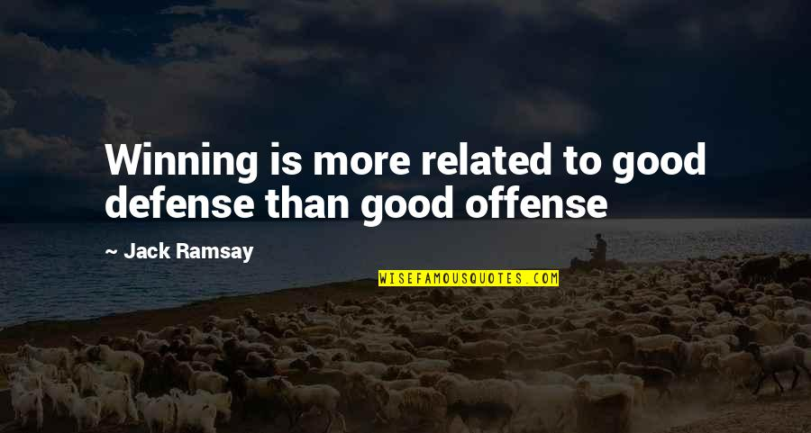 Offense In Basketball Quotes By Jack Ramsay: Winning is more related to good defense than