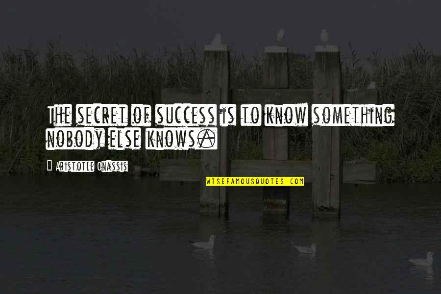 Ofy Quotes By Aristotle Onassis: The secret of success is to know something