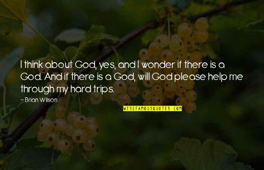 Oh God Please Help Me Quotes By Brian Wilson: I think about God, yes, and I wonder