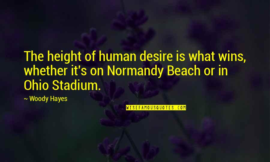 Ohio Quotes By Woody Hayes: The height of human desire is what wins,