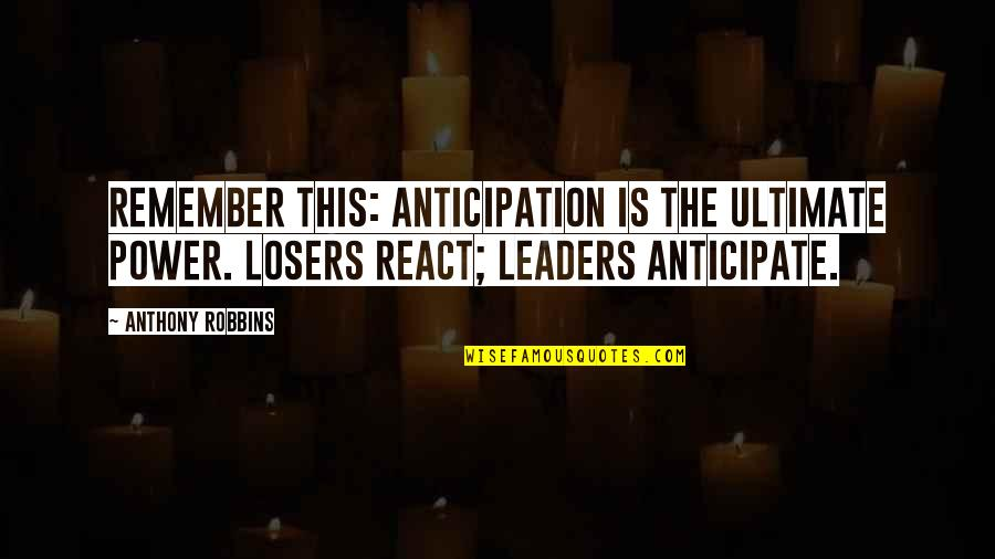 Ohio State Vs Michigan Football Quotes By Anthony Robbins: Remember this: anticipation is the ultimate power. Losers