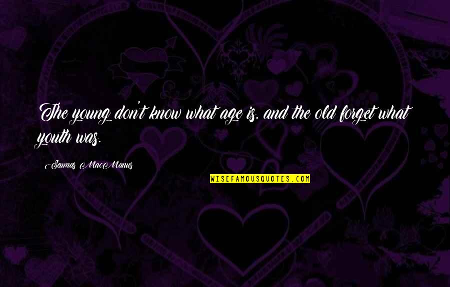 Old Age And Youth Quotes By Seumas MacManus: The young don't know what age is, and