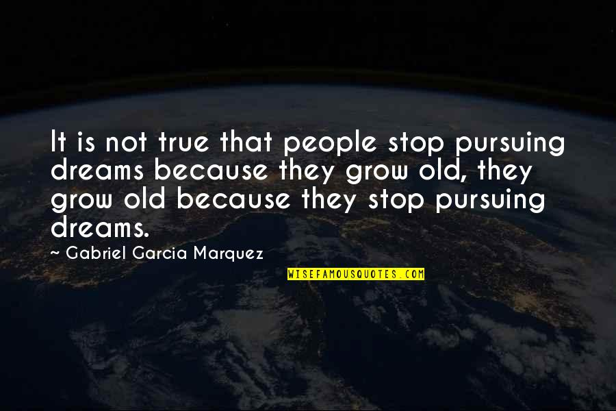 Old But True Quotes By Gabriel Garcia Marquez: It is not true that people stop pursuing