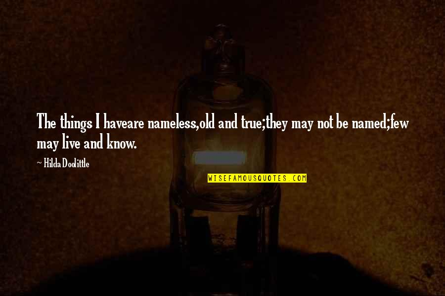 Old But True Quotes By Hilda Doolittle: The things I haveare nameless,old and true;they may