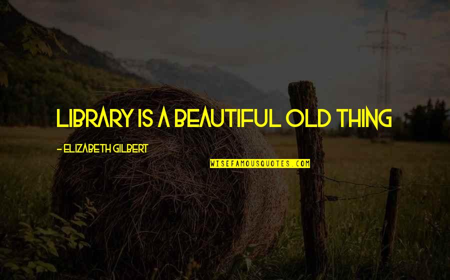Old Is Beautiful Quotes By Elizabeth Gilbert: Library is a beautiful old thing