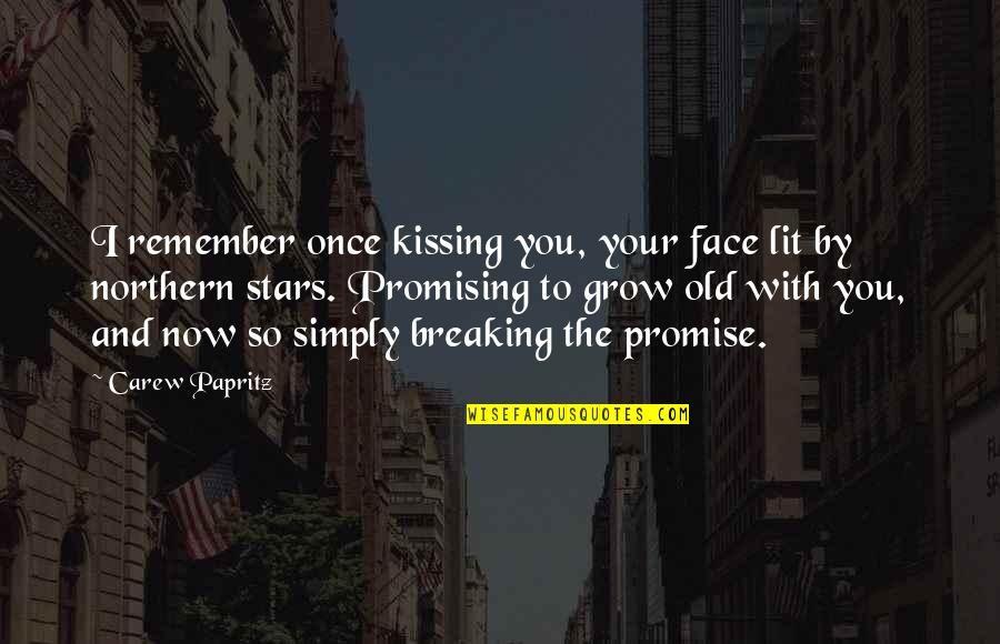 Old Quotes And Quotes By Carew Papritz: I remember once kissing you, your face lit