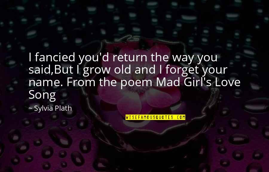 Old Quotes And Quotes By Sylvia Plath: I fancied you'd return the way you said,But