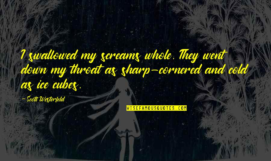 Old Structure Quotes By Scott Westerfeld: I swallowed my screams whole. They went down