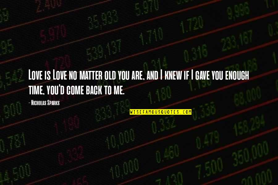 Old Time Love Quotes By Nicholas Sparks: Love is Love no matter old you are,