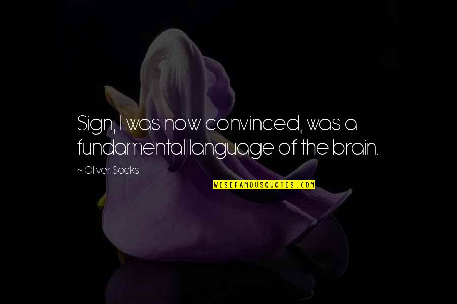 Oliver Sacks Quotes By Oliver Sacks: Sign, I was now convinced, was a fundamental