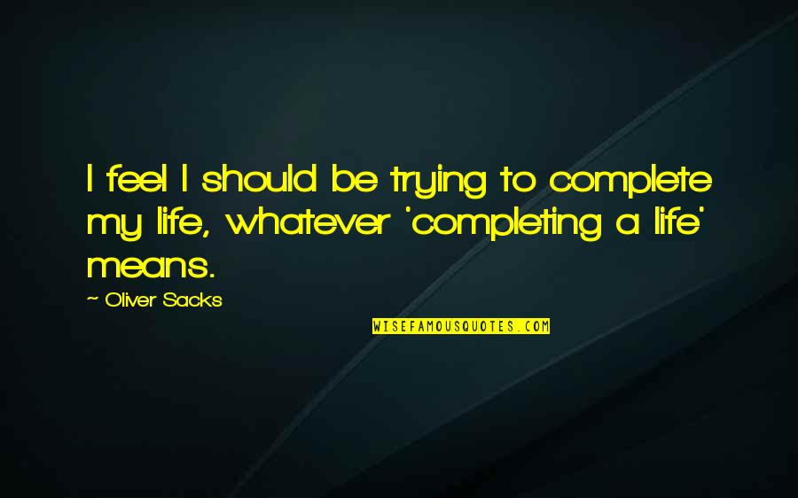 Oliver Sacks Quotes By Oliver Sacks: I feel I should be trying to complete