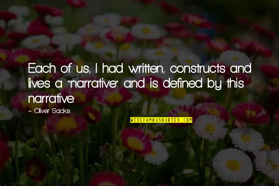 Oliver Sacks Quotes By Oliver Sacks: Each of us, I had written, constructs and