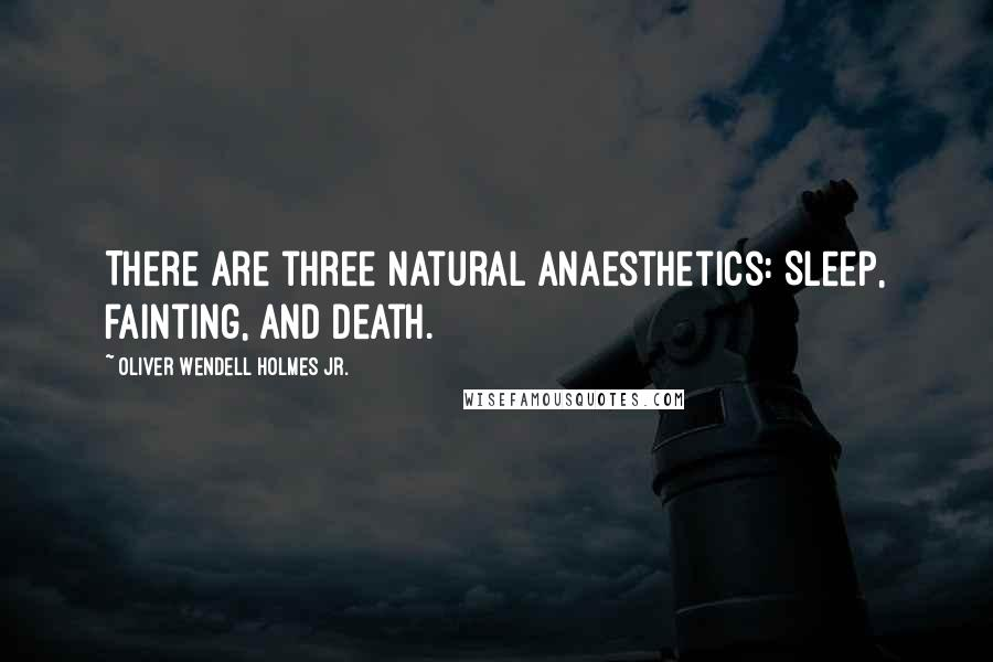 Oliver Wendell Holmes Jr. quotes: There are three natural anaesthetics: Sleep, fainting, and death.